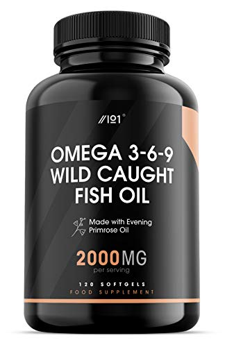 Omega 3-6-9 Wild Caught Fish Oil - 2000mg - with Evening Primrose Oil - 120 Softgels - No Additives — Non-GMO, Gluten Free. (1 Pack)