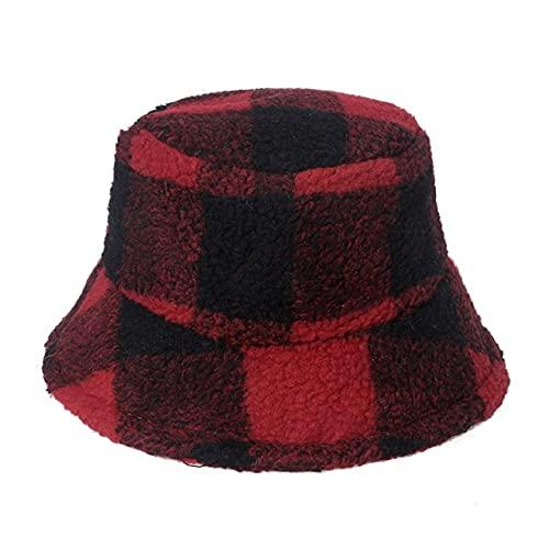 Moda Unisex Cálido Negro Piel Sintética Cordero Lana Girasol Esponjoso Cubo Sombrero Floral Pesca Tapas Para Hombre Invierno