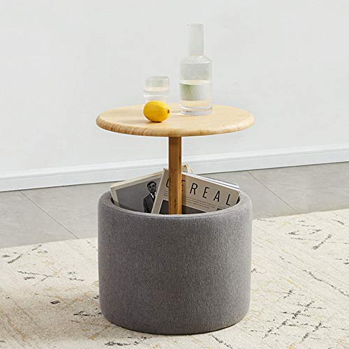 Bamboo Sofa Side Table, Round Bedside Table with Storage Basket, Multifunctional Creative Coffee Table for Bedroom, Living Room, Balcony, Office, Garden