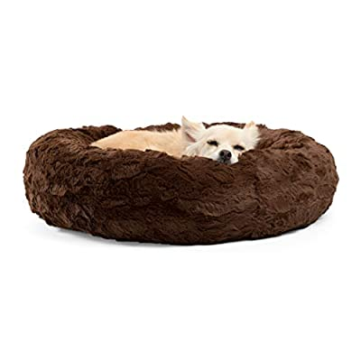 Best Friends by Sheri Lux Fur Donut Cuddler (Multiple Sizes) ?Round Donut Cat and Dog Cushion Bed, Orthopedic Relief, Self-Warming and Cozy for Improved Sleep - Prime, Machine Washable, Water-Resistant Bottom