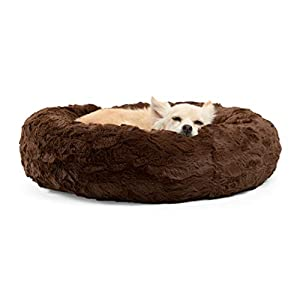 Best Friends by Sheri Lux Fur Donut Cuddler (Multiple Sizes) –Round Donut Cat and Dog Cushion Bed, Orthopedic Relief, Self-Warming and Cozy for Improved Sleep – Prime, Machine Washable, Water-Resistant Bottom
