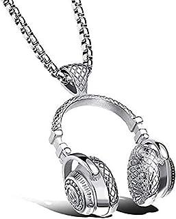 عقد انيق بتعليقة على شكل سماعة اذن موسيقى الروك مصنوعة من فولاذ التيتانيوم مناسبة للرجال والنساء، باللون الفضي