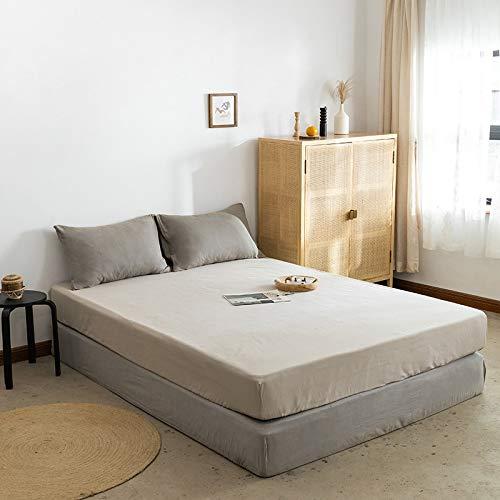 IKITOBI Sábanas bajeras ajustables extra profundas, sábanas bajeras lisas teñidas profundas, 150 x 200 cm