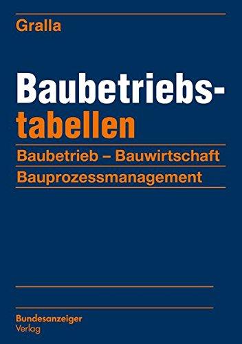Baubetriebstabellen: Baubetrieb - Bauwirtschaft - Bauprozessmanagement