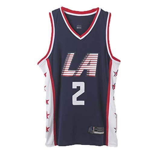 Uniforme de Competencia de Baloncesto, Clippers No. 2 Jersey de Baloncesto Leonard, Chaleco de fanáticos para Adultos, Malla de poliéster, Adecuado para la competenc S