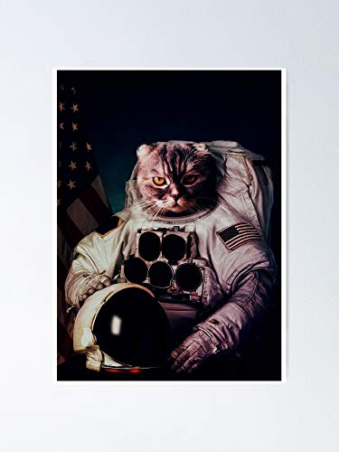 AZSTEEL Space Cat Wearing An Astronaut Suit Poster | No Frame Board For Office Decor, Best Gift Family And Your Friends 11.7 * 16.5 Inch