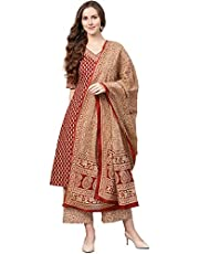 INDO ERA Women's Pure Cotton Printed A-Line Kurta Palazzo With Dupatta Set(IE17KS0MR1276)