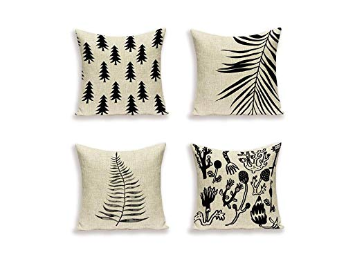 Jwqing Pack of 4 Decorative Pillow Covers Retro Simple Scandinavian Pine Tree Pattern Square Cushion Cover Throw Pillow Covers Home Decor for Sofa Bedroom-D_50x50cm(Cushion_Cover)