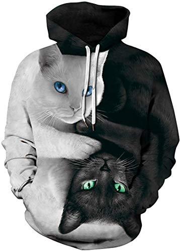 Pandolah Men's Patterns Print Athletic Sweaters Fashion Hoodies Sweatshirts (Large/X-Large, 001-2CP Cats)