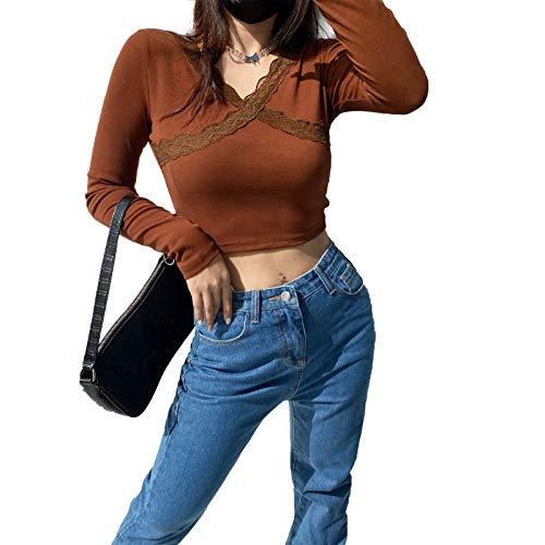 Camiseta de manga larga para mujer con bloques de color y retazos