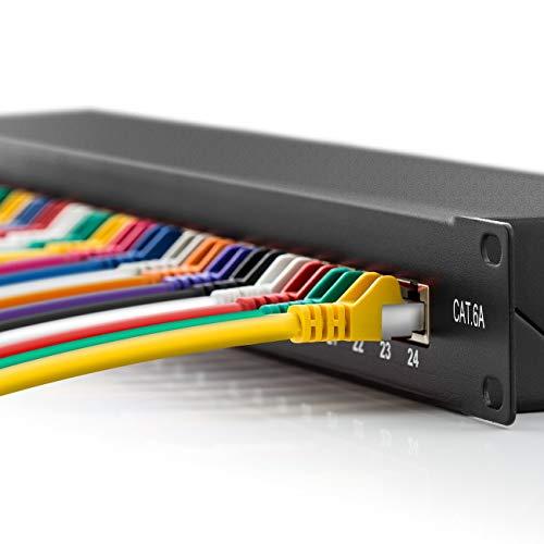 deleyCON CAT 6a Patchpanel Verteilerfeld 24 Port - Desktop 19 Zoll Rackeinbau Servermontage RJ45 Geschirmt - TIA568A TIA568B - Schwarz