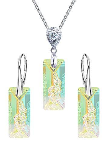 Crystals&Stones - RECTANGLE – Fantástica y exclusiva juego de joyas – Plata 925 bonitos pendientes para mujer y collar con elegantes cristales ldeal Día de la Madre Día de San Valentín