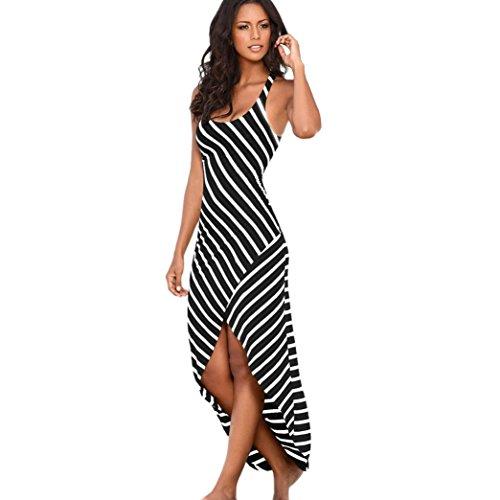 Vestido Largo Mujer Casual Sin Mangas Rayas Suelto
