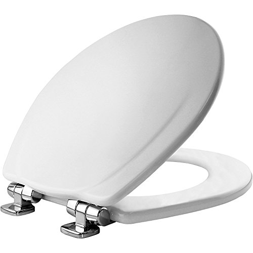 MAYFAIR 830CHSLB 000 Toilet Seat with Chrome Hinges will Slow Close and Never Come Loose, ROUND, Durable Enameled Wood, White