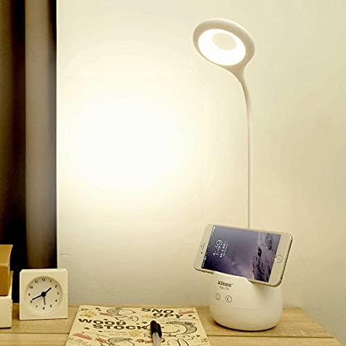 ZITFRI Lampara LED Escritorio Flexo Escritorio 3 Niveles Brillos+Modo Nocturno, Flexo LED Escritorio Panel Táctil Lampara Escritorio Flexo para Estudiar, Lampara de Lectura Recargable Luz Cuidar Ojos