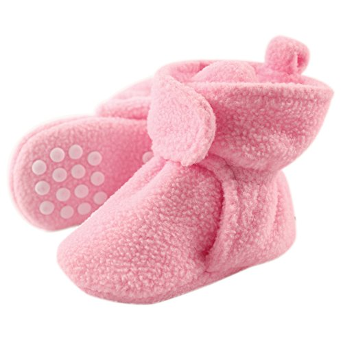 Luvable Friends Unisex Baby Cozy Fleece Booties, Light Pink, 6-12 Months