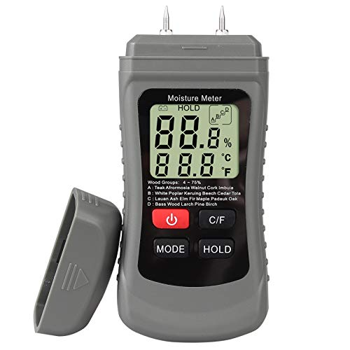 Proster Misuratore Umidità Legno Igrometro Digitale per Legno Foglio Parete Cartongesso LCD Display Rilevatore Umidità per Legno 4 Gruppi con Funzione Data Hold-Grigio