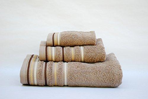 Portugal Juego Toallas 3 Piezas. 100% algodón Densidad 520 gr/m2. Cordón Camel