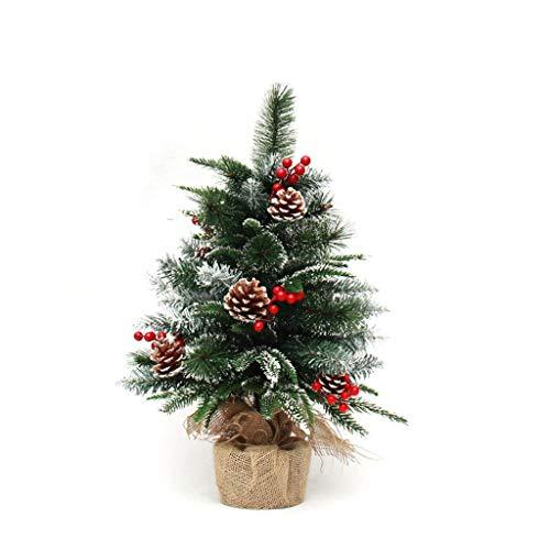 Árbol de Navidad pequeño con Multi Color Luces LED Mini Mesa árboles decoración con Adornos de piñas y Bowknots, pequeña Caja de Regalo, chucherías de la Navidad en Rojo 1117 (Size : 90cm)