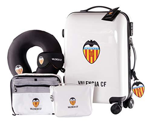 Valencia Club de Fútbol - Pack de Viaje Maleta y Accesorios - Producto Oficial del Equipo Temporada 19/20. Incluye Almohada Cervical, Organizador de Equipaje, Neceser, Antifaz y Etiqueta de Equipaje.