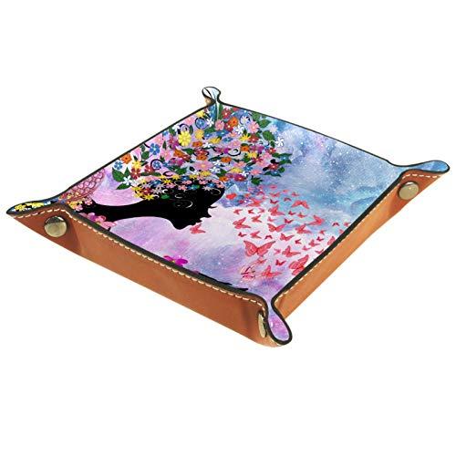 Bandeja de Valet Cuero para Hombres - Chica Mariposa Sueño De Mármol - Caja de Almacenamiento Escritorio o Aparador Organizador,Captura para Llaves,Teléfono,Billetera,Moneda