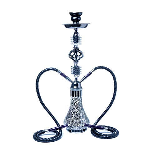 YUNFEILIU Arabische Wasserpfeife, 2-Schlauch-Shisha-Wasserpfeife, Party-Raucher-Set Ohne Nikotin,Schwarz