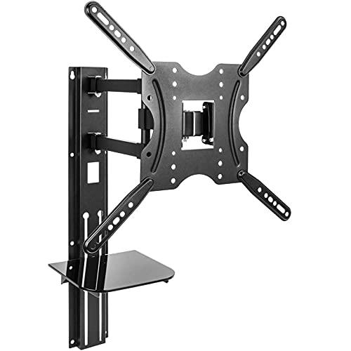 BeMatik - Soporte de pared para pantalla TV de 32' a 55' compatible VESA-100/200/300/400 con bandeja