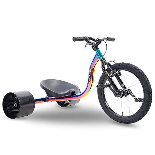 "Sullivan 18"" Jnr Big Wheel Drift Trike neo Chrome/Black, for Ages 7-12 Years, Awesome Sliding Fun"