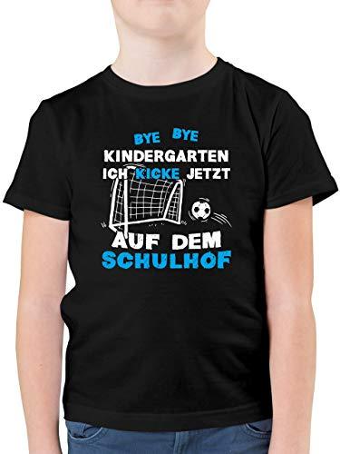 Einschulung und Schulanfang - Bye Bye Kindergarten Einschulung Fußball Blau - 116 (5/6 Jahre) - Schwarz - Bye Bye Kindergarten - F130K - Kinder Tshirts und T-Shirt für Jungen
