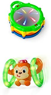 Bright Starts Baby Light and Giggle Drum and Roll and Glow Monkey Toy Bundle
