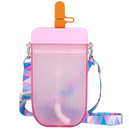 Borraccia con Cannuccia, NALCY Borraccia Bambini, Borraccia in Plastica da 300 ml Carino Tazza di Cannuccia Trasparente Succo Bevente Tazza Adatta per Adulti e Bambini (Rosa)