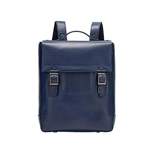 DUDU Zaino Uomo Porta PC Portatile Tablet Laptop in Vera Pelle Elegante da Lavoro Ufficio Viaggio Blu