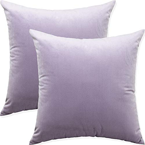 Artaimee Throw Pillow Covers 18x18 Pack of 2 Velvet Sofa Bed Couch Cushion Case 45x45 Lilac