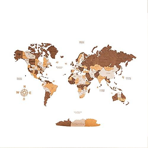 Mapa del mundo de madera, decoración de pared para el hogar y la oficina, tamaño extra grande (200 x 100 cm), también disponible en tamaño M y L