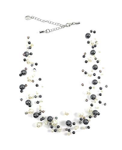Damen Perlen-Ketten Collier der Extra Klasse! SCHWARZ-WEISS