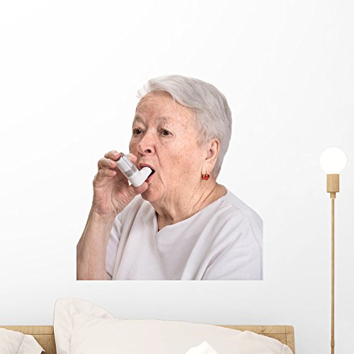 Wallmonkeys Senior Woman with Asthma Inhaler Wall Decal Peel and Stick Graphic WM335116 (18 in H x 15 in W)