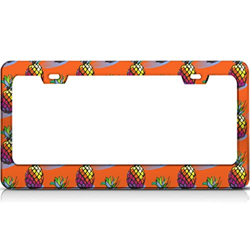 Stainless Steel License Plate Frame Pineapple Fruit Permanent Patterned Personalized Not deformed - License Plate Cover Holder with Standard 2 Hole and Screws white 16x31cm