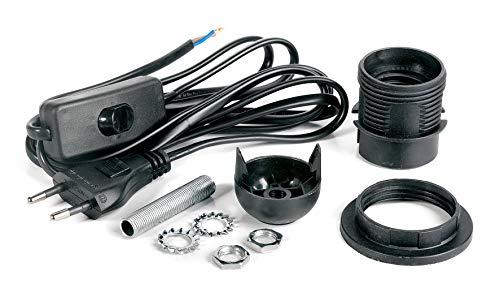 VBS Lampenfassung-Set für Tischlampen und Hängelampen E27 mit Schalter und Gewindestange Schwarz