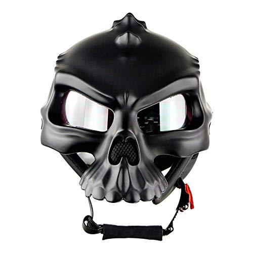 Cycling fox Erwachsener Motorrad halber Helm Dirt Bike Helm Professioneller dualer Gebrauch Atmungsaktiv Harley Half Face Skull Shape Helme DOT-Zertifizierung,L