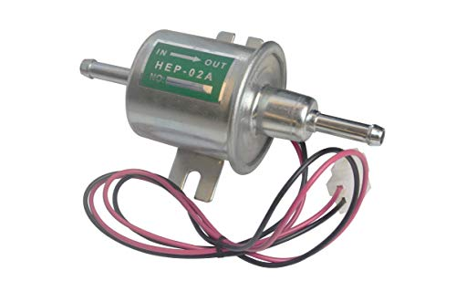 Queflago Electric Fuel Pump Universal Inline Low Pressure Heavy Duty 12V Metal Solid Petrol Gas Diesel HEP-02A Compatible with Carburetor 12 Volts