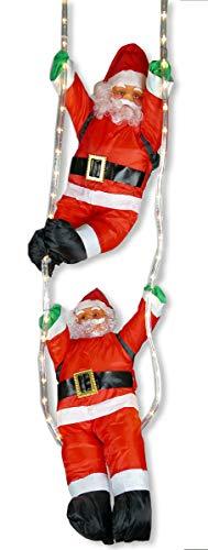 2x Weihnachtsmann hängend an LED-Lichtschlauch beleuchtet von Gartenpirat®
