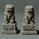 QMZDXH Par de Leones de Beijing Estatuas de Perros Fu Foo (Un...