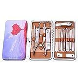 LONGLING Set de manicura para cortaúñas 15 Piezas para Mujer Set de Herramientas de manicura y Cuidado Facial de Acero Inoxidable Profesional con Estuche portátil de Viaje y hogar