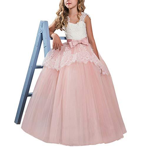 NNJXD NNJXD Mädchen Ärmel Stickerei bodenlangen Prinzessin Festzug-Kleid-Abschlussball-Ballkleid-Größe (160) 11-12 Jahre 386 Rosa-A