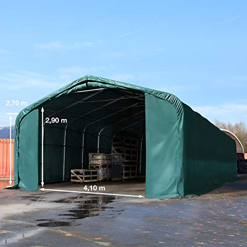 TOOLPORT Standsichere Lagerhalle/Lagerzelt 6 x 12 m/mit Statik feuersichere 720 g/m² PVC Plane Weidezelt dunkelgrün - 2