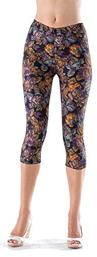 Lush Moda Extra Soft Capri Leggings with Designs- Variety of Prints - 38C Antique Rose