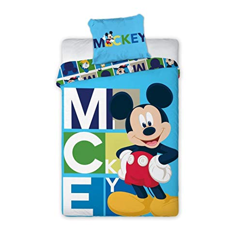 AYMAX S.P.R.L. Mickey Mouse - Juego de cama (funda nórdica de 140 x 200 cm y funda de almohada de 63 x 63 cm), diseño de Mickey Mouse