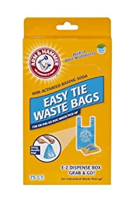 Arm & Hammer 71041 Easy-Tie Waste Bags, Blue, 75-Pack