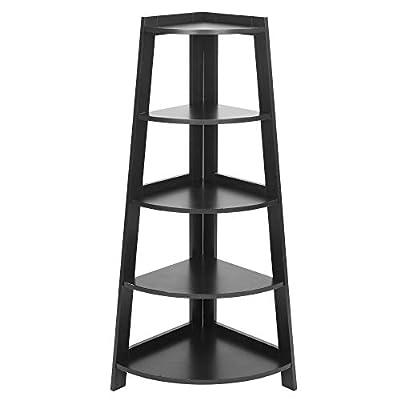 5 Tier Corner Shelf Stand Wood Display Storage ...