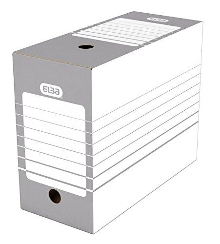 Elba Lot de 20 Boîtes Archives Automatiques en Carton Dos 15 cm Gris